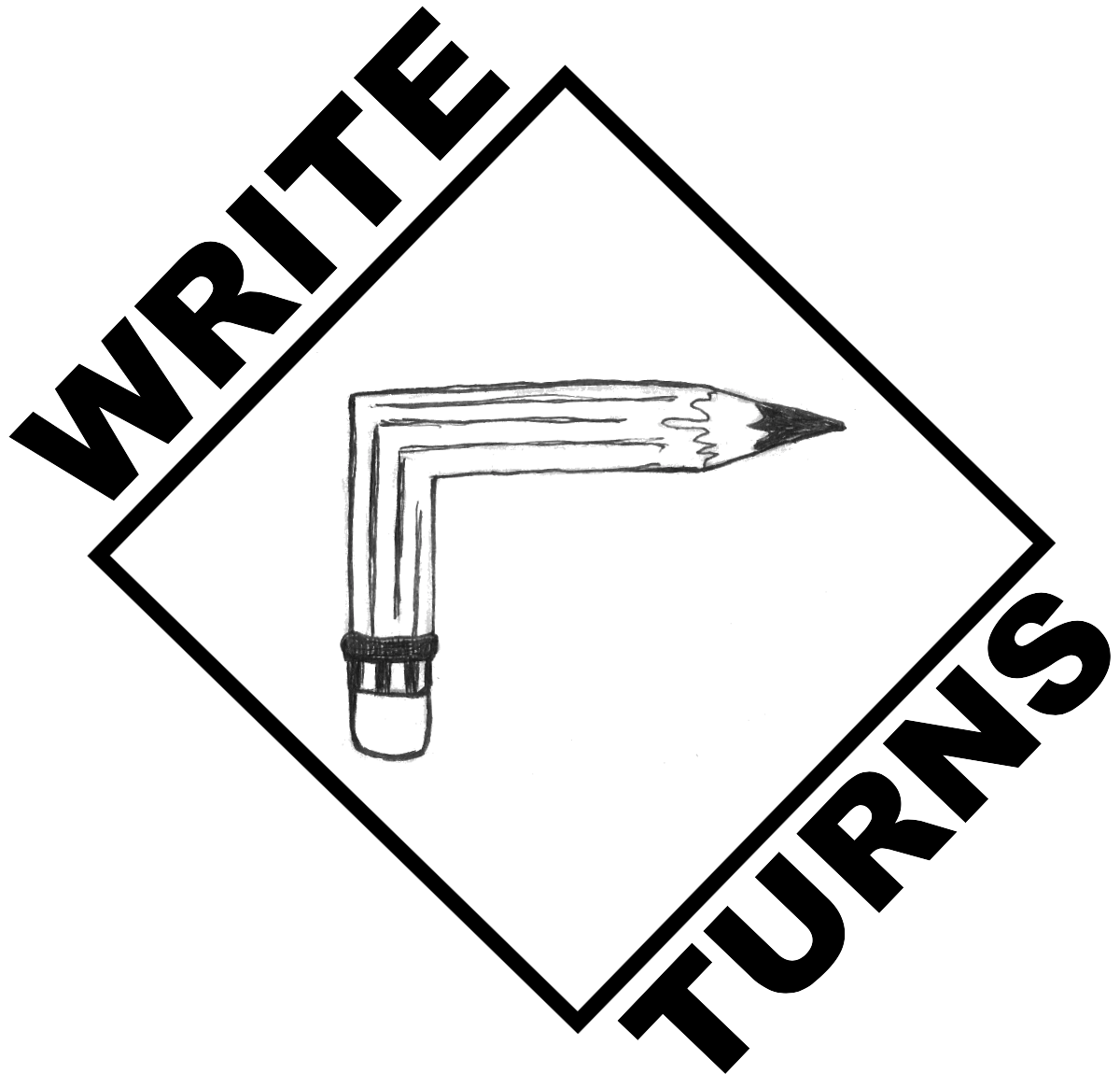 "Image: Write Turns logo, which is a pencil bent at a right angle inside of a diamond with the words ""Write Turns."""