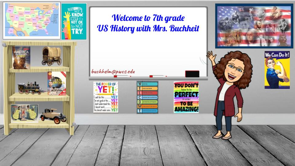Cartoon teacher in classroom with welcome sign