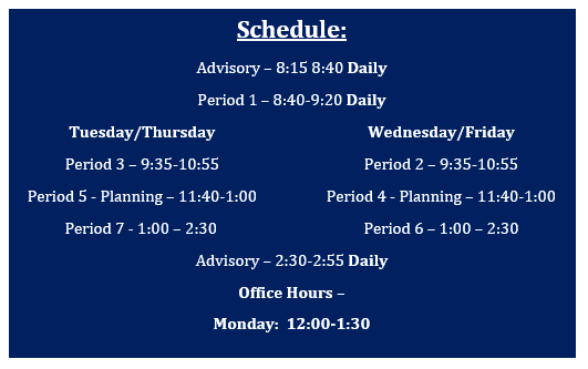 Class schedule for the 2020-2021 school year
