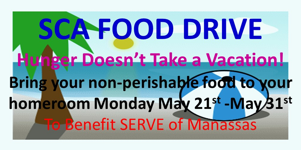 MMS SCA Food Drive May 21st to 31st