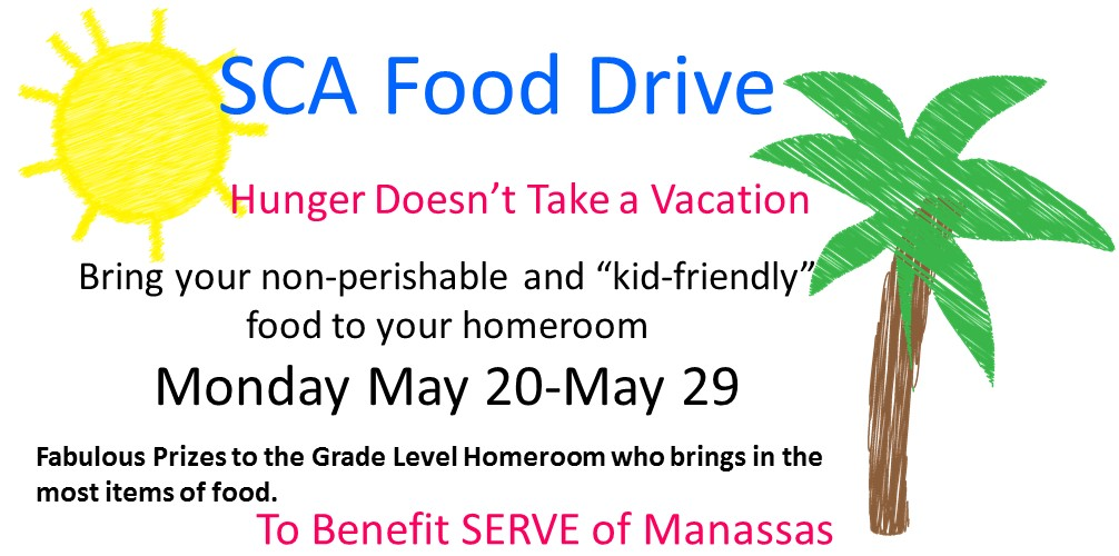 MMS Summer Food Drive Flyer Encouraging students to bring in non perishable goods to help the local food pantry over the summer.