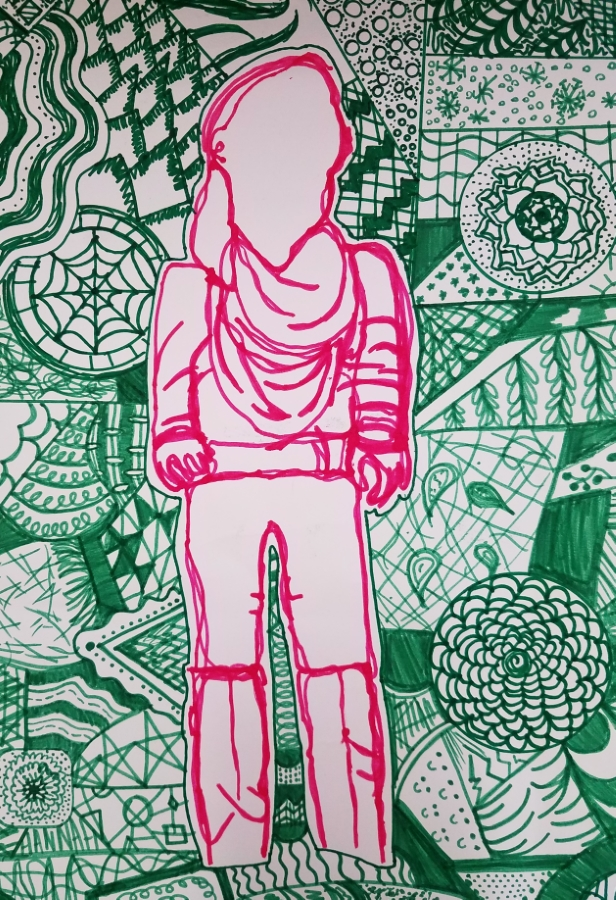 image: contour drawing of a person with patterned background