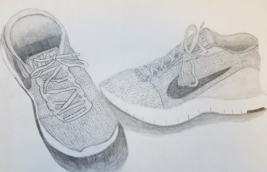 image: pencil drawing of a pair of sneakers