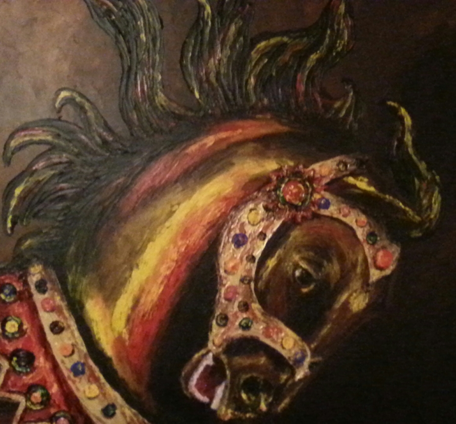 image: brown carousel horse head with red and yellow highlights on a flame-shaped mane with a brown background