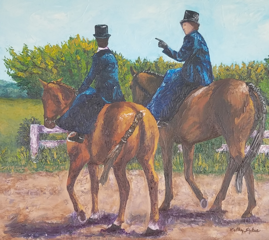 image: acrylic painting of two women riding side-saddle through the Virginia country-side