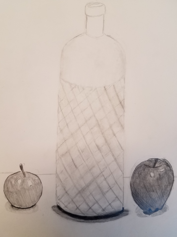 image: still life pencil drawing of a glass bottle and two apples