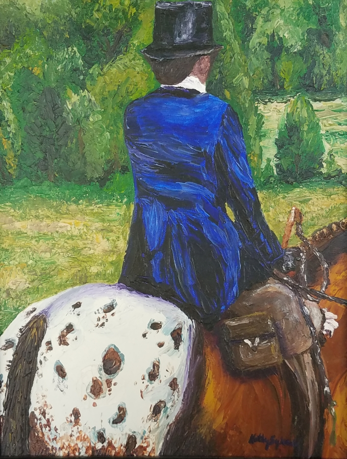 image: lady riding sidesaddle on an Appaloosa horse