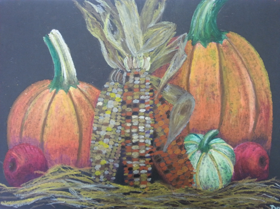 image: oil pastel drawing of pumpkins, corn and apples